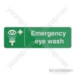Emergency Eye Wash Station Sign - 300 x 100mm Self-Adhesive