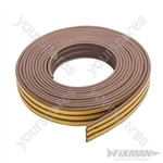 Self-Adhesive P-Profile Weather Strip - 3 - 5mm / 15m Brown
