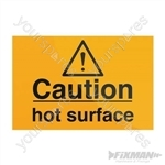Caution Hot Surface Sign - 75 x 50mm Self-Adhesive