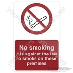 No Smoking - Against The Law Sign - 100 x 150mm Self-Adhesive