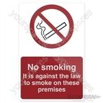 No Smoking Sign - 100 x 150mm Self-Adhesive