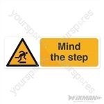 Mind The Step Sign - 300 x 100mm Self-Adhesive