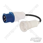 16A CEE 240V Plug to 16A Schuko Socket Fly Lead Converter - 240V 3-Pin